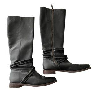 Cole Haan Black Leather Riding Boots Tall 9